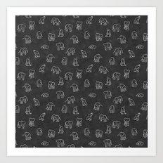 Indian Baby Elephants Blackout Art Print
