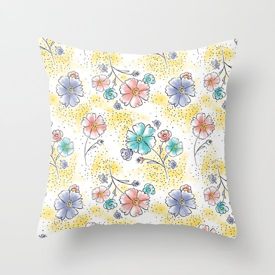 Brilliant Blooms Throw Pillow