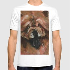 Chow dog portrait SMALL White Mens Fitted Tee