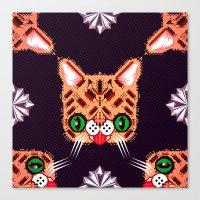 Lil Bub Geometric Patter… Canvas Print