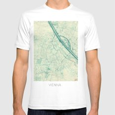 Vienna Map Blue Vintage SMALL Mens Fitted Tee White