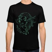 Lady On A Dolphin Mens Fitted Tee Black SMALL