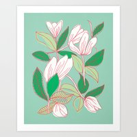 Floating Tulips (mint green) Art Print