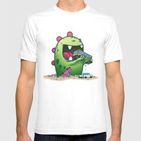 Dinosaur Mens Fitted Tee White SMALL