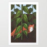 Fox Paper Art, Hand Draw… Art Print
