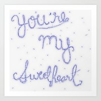 Sweetheart // Blue Art Print