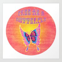 Free As A Butterfly Distressed Art Print