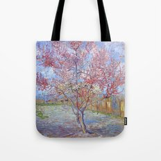 Pink Peach Tree in Blossom by Vincent van Gogh Tote Bag