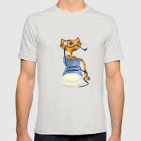 Cat Slipper Mens Fitted Tee Silver SMALL
