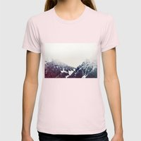 Vintage Snowy Mountain Womens Fitted Tee Light Pink SMALL
