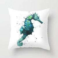 Seahorse print, seahorse painting, watercolor seahorse, green seahorse, ocean art Throw Pillow