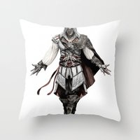 Ezio Auditore from Assassin's Creed - Color Sketch Work Throw Pillow