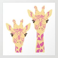 pinky giraffe sisters Art Print