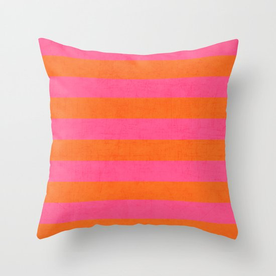 Hot Pink And Orange Throw Pillows : hot pink and orange stripes Throw Pillow by Her Art Society6