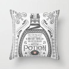 Legend of Zelda Red Potion Vintage Hyrule Line Work Letterpress Throw Pillow
