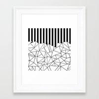 Abstract Outline Stripes Black and White Framed Art Print