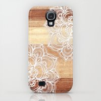 Galaxy S4 Cases featuring White doodles on blonde wood - neutral / nude colors by micklyn