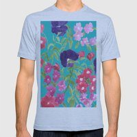 Blue Floral Print Mens Fitted Tee Athletic Blue SMALL