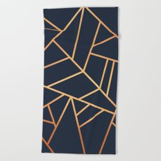 Copper and Midnight Navy Beach Towel