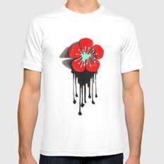 Red and Aqua Atomic Flower SMALL White Mens Fitted Tee