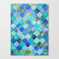Canvas Print featuring Cobalt Blue, Aqua & Gold Decorative Moroccan Tile Pattern by micklyn
