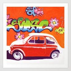 Fiat 500 Graffiti Art Print