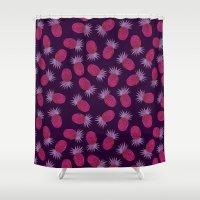 Chevron Pineapple - Purple Shower Curtain