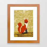 Fox On Flowers Framed Art Print