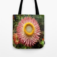 Pink flower on wood texture Tote Bag