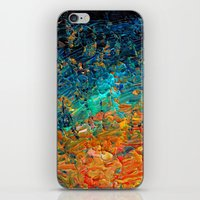 ETERNAL TIDE 2 Rainbow Ombre Ocean Waves Abstract Acrylic Painting Summer Colorful Beach Blue Orange iPhone & iPod Skin