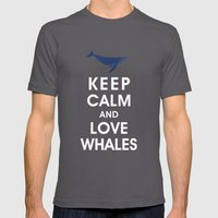 Keep Calm and Love Whales Mens Fitted Tee Asphalt SMALL