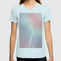 Lightning  Womens Fitted Tee Light Blue SMALL