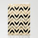 Black & Gold Glitter Herringbone Chevron on Nude Cream Stationery Cards