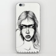 iPhone & iPod Skin featuring Nocturnal Warrior Sketch by Chelsea Brown