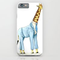 iPhone & iPod Case featuring Giraffe in suit by Lina Littlefield