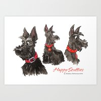 Happy scotties Art Print
