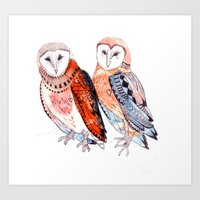 LOVE owls Art Print