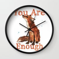 Inspirational Quotes, Fox art, You are enough Wall Clock