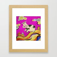Cow - magenta Framed Art Print