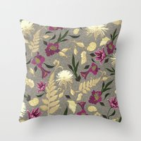 Flowers & Sea Shells Throw Pillow