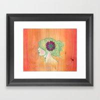 Melon Woodgrain Girl Framed Art Print