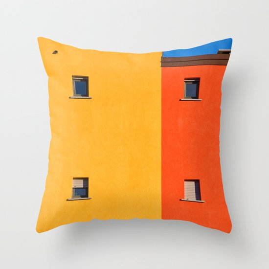 Yellow, orange, blue with windows Throw Pillow