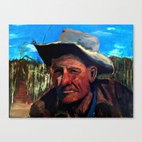 Man In Field Canvas Print