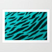 Aqua Zebra Print Art Print