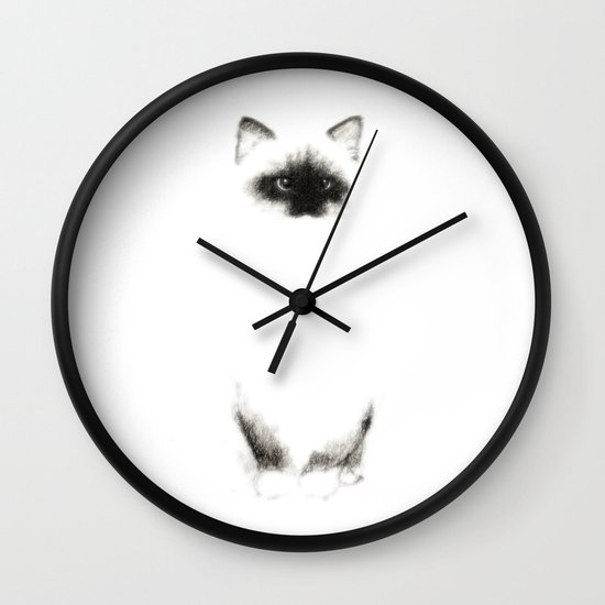 Angora Siamese Cat - Chat Siamois Angora Wall Clock