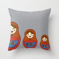 3 Matroyshkas Throw Pillow
