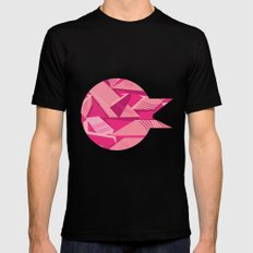 Pink Pattern Mens Fitted Tee Black SMALL