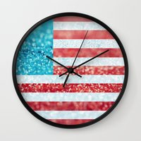Red, White, And Glitter … Wall Clock
