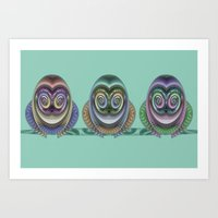 Three Owls Art Print