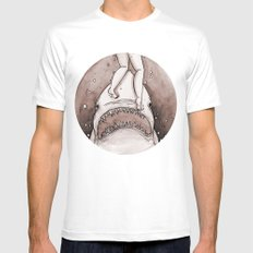 Shark Attack White SMALL Mens Fitted Tee